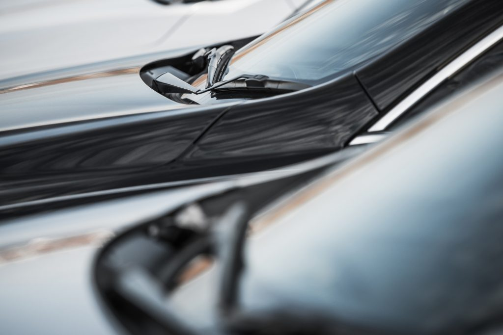 Close up of cars parked at a dealership