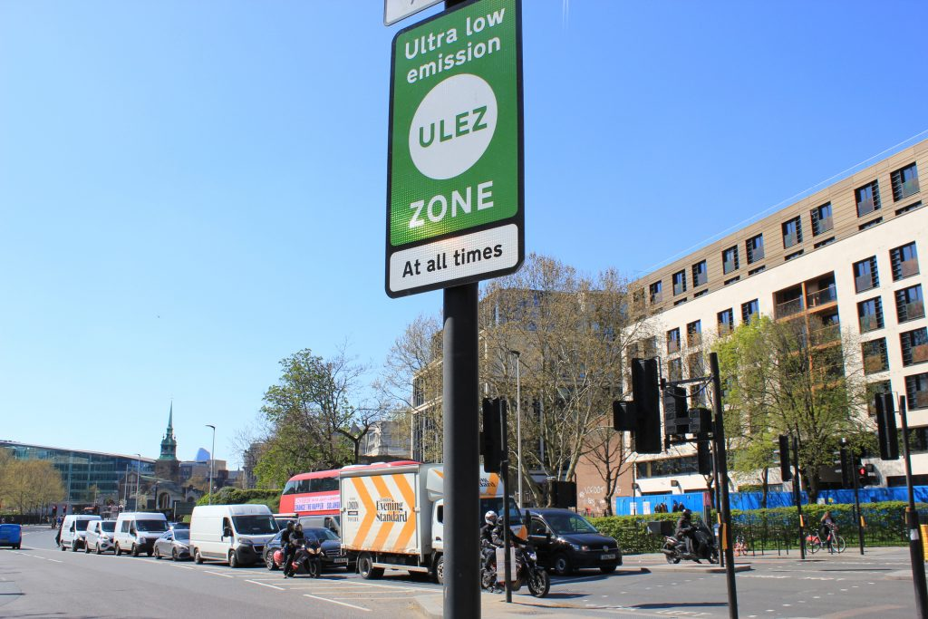 ULEZ (Ultra low emission zone) charge congestion charge Ultra Low Emission Zone (ULEZ) warning sign central London