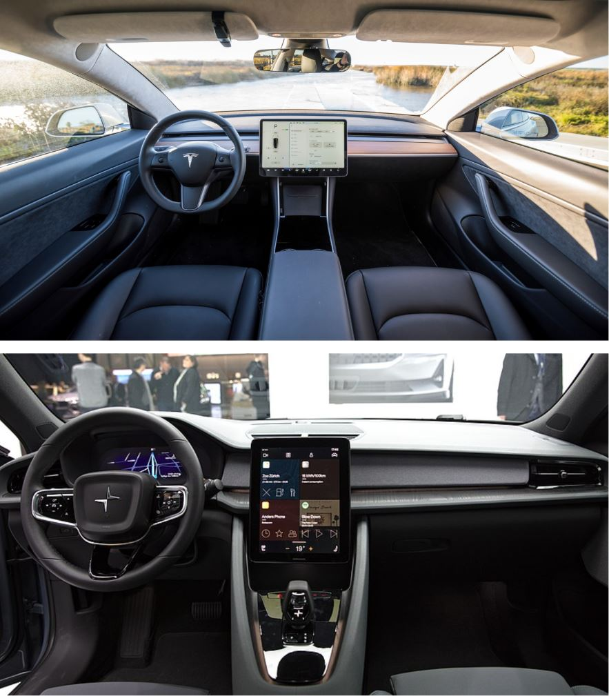 Polestar Vs Tesla 2 interior (1)