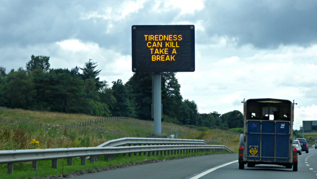 common motoring offences tiredness can kill sign