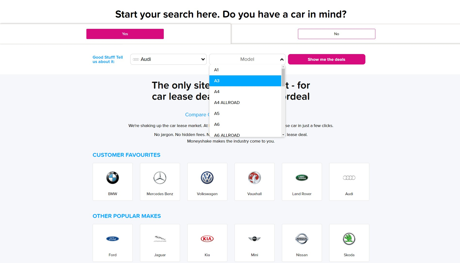 Help finding a new car - model select