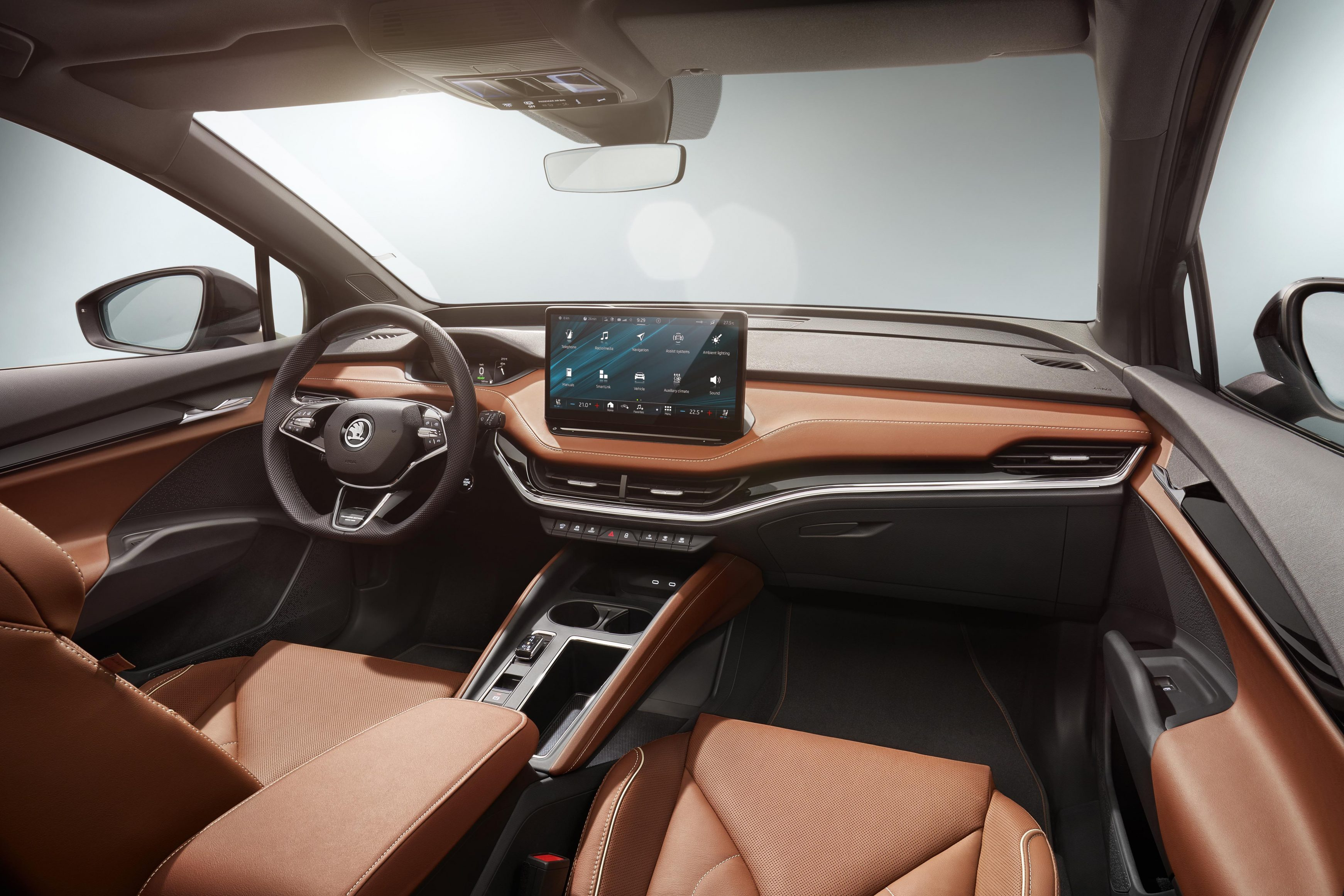 The Skoda Enyaq iV has a beautifully crafted interior which houses modern tech and high-end materials