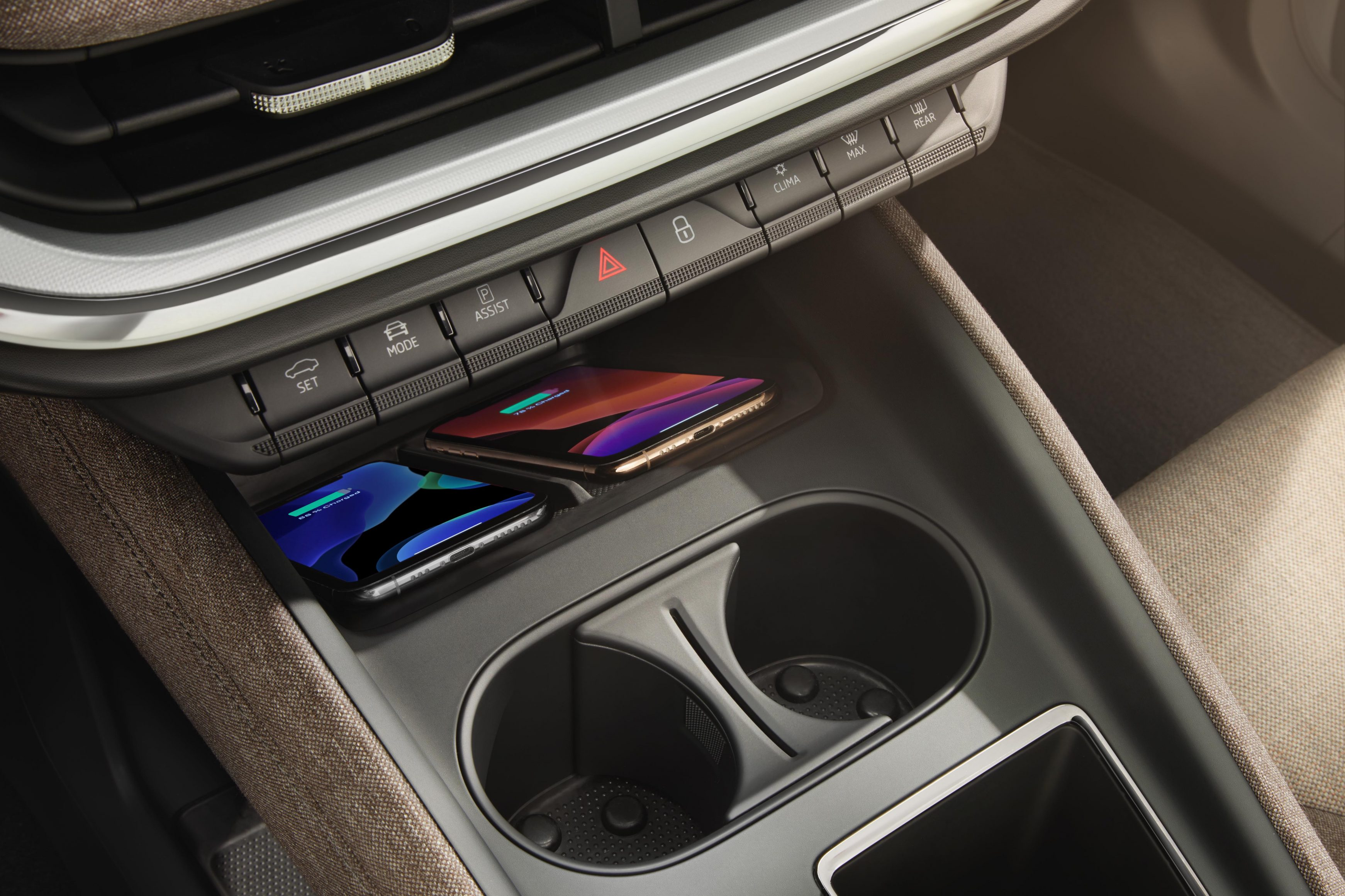 Wireless smartphone connectivity and charging is standard in the Skoda Enyaq iV