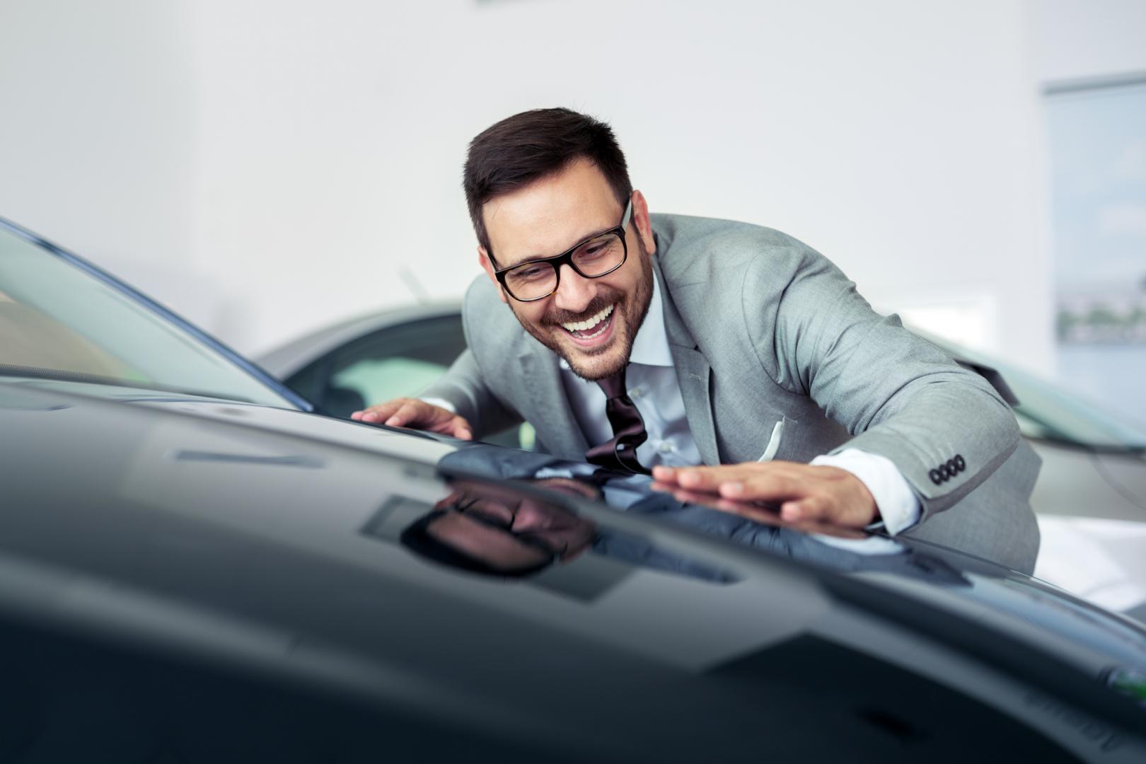 man celebrating great in-stock deal