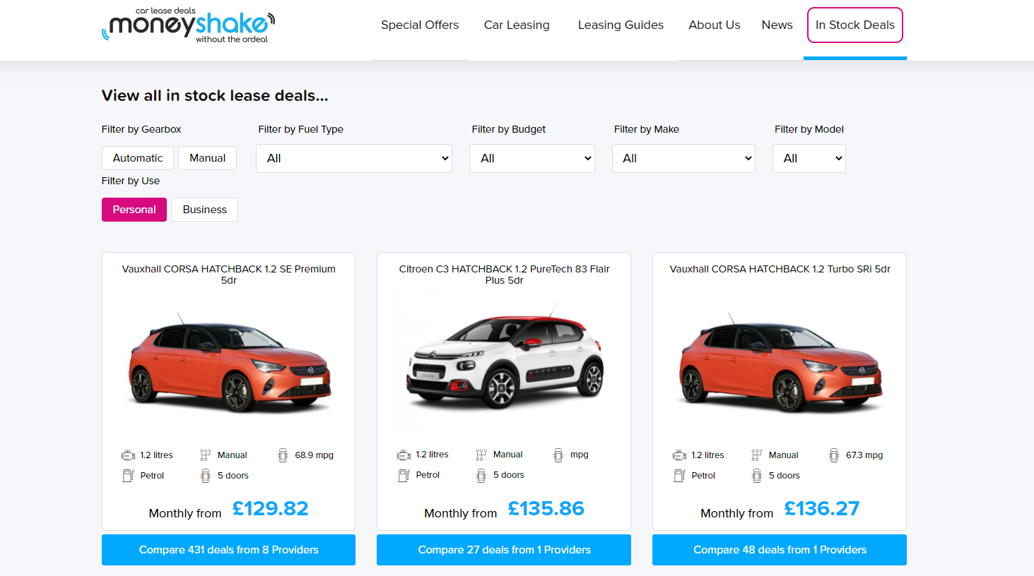 moneyshake in-stock lease deals page