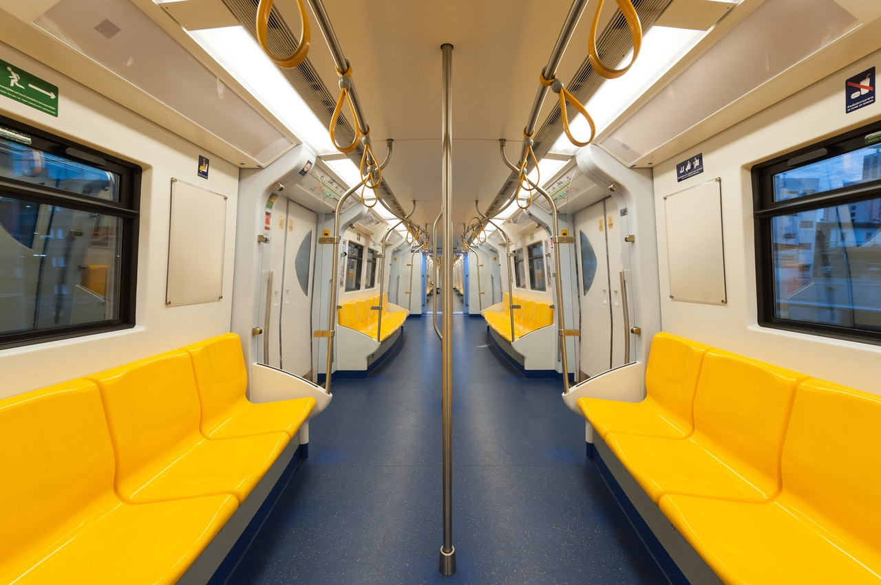 Empty train as public transport suffers because of COVID19