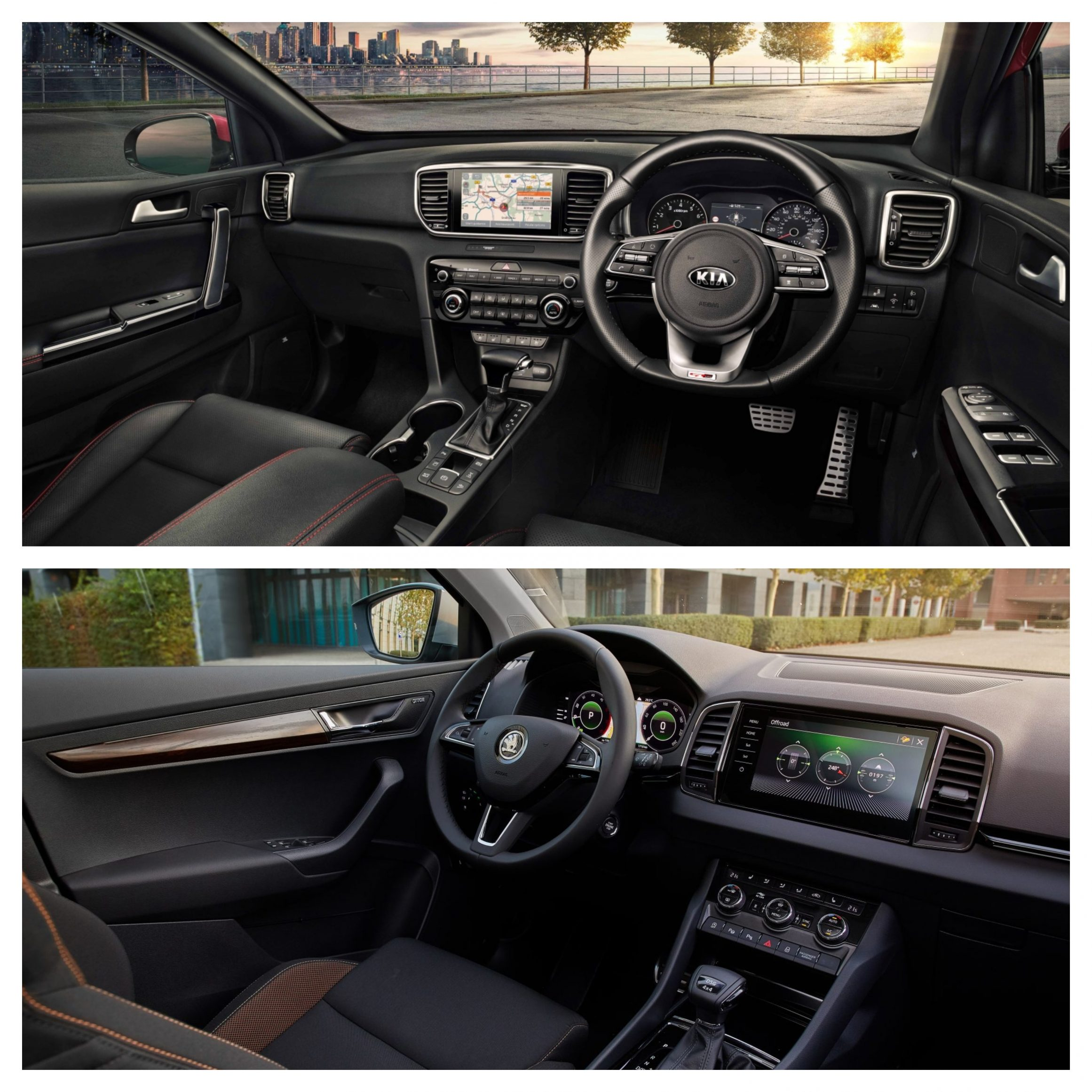 interior of the sportage and karoq