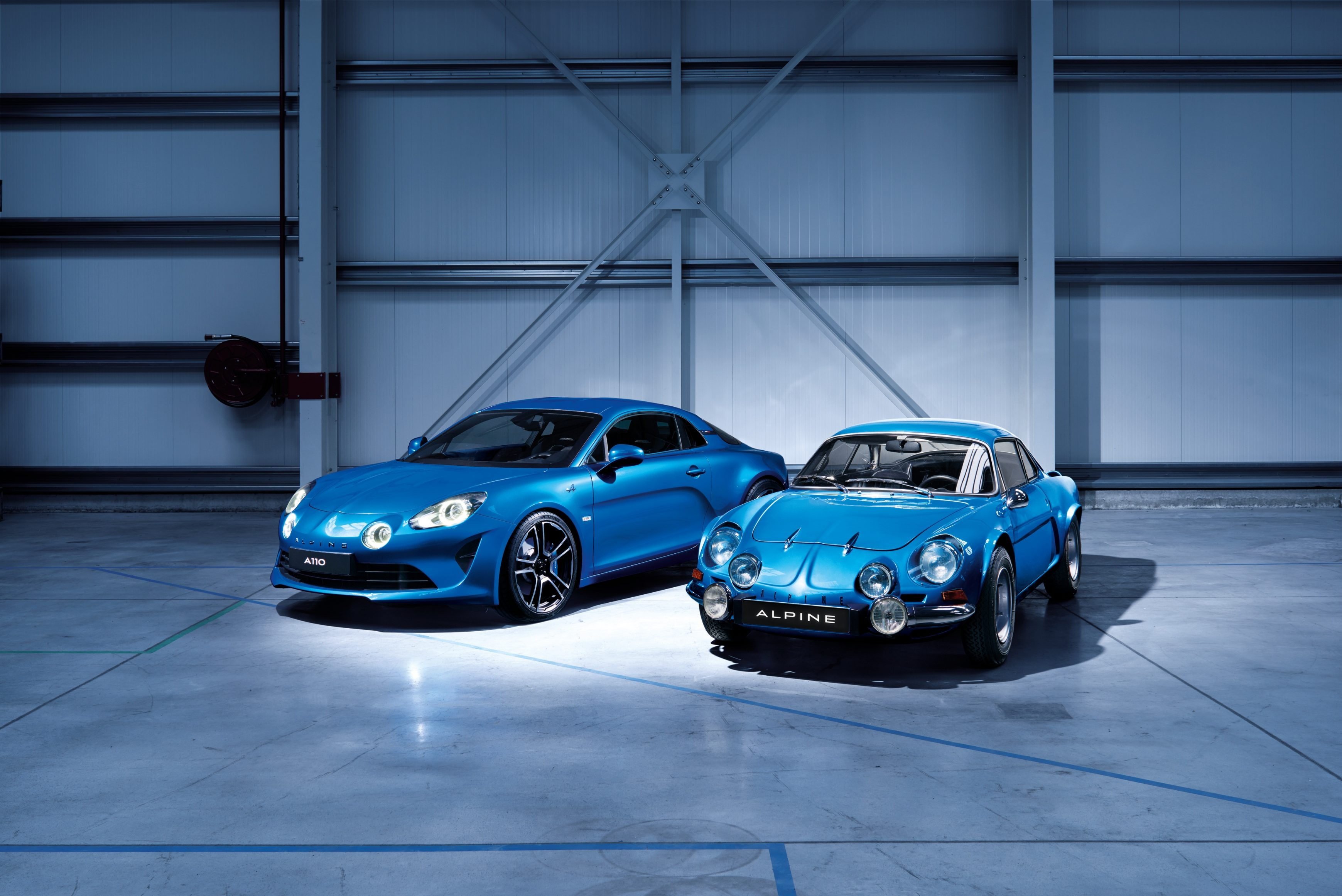 2018 Alpine A110 alongside its 1961 ancestor