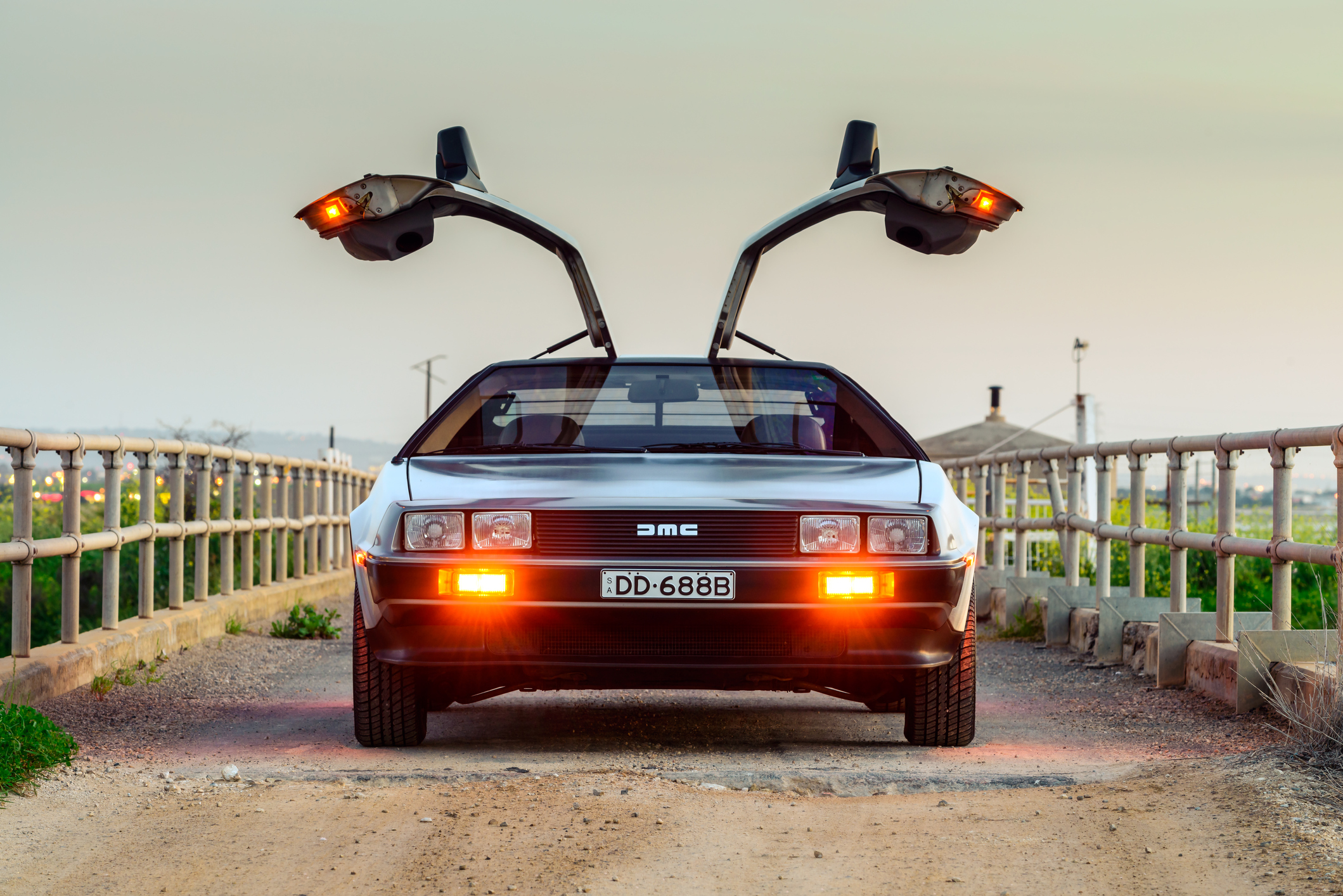 The famous DeLorean gull-wings in action