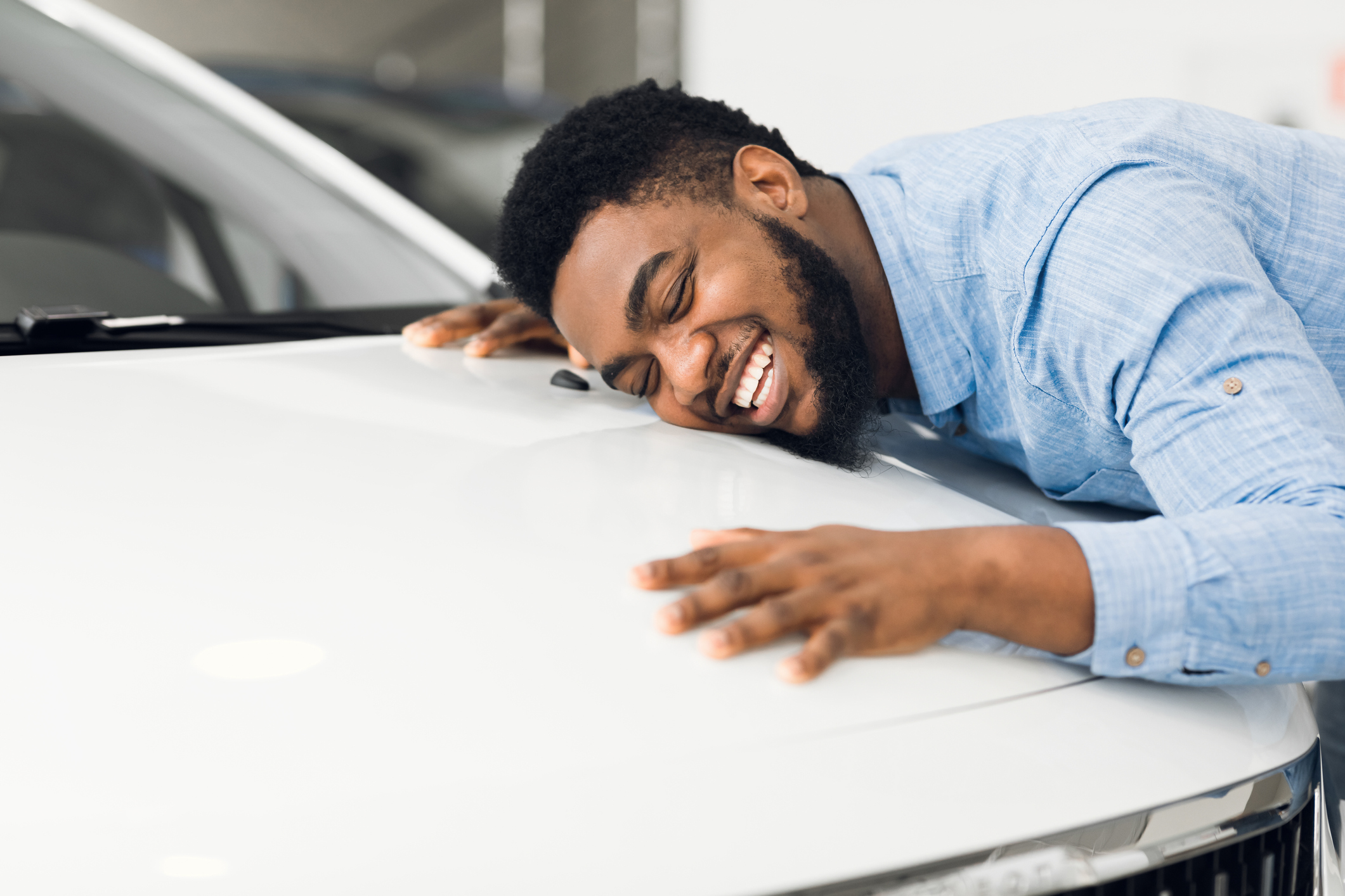 man happy with new lease car
