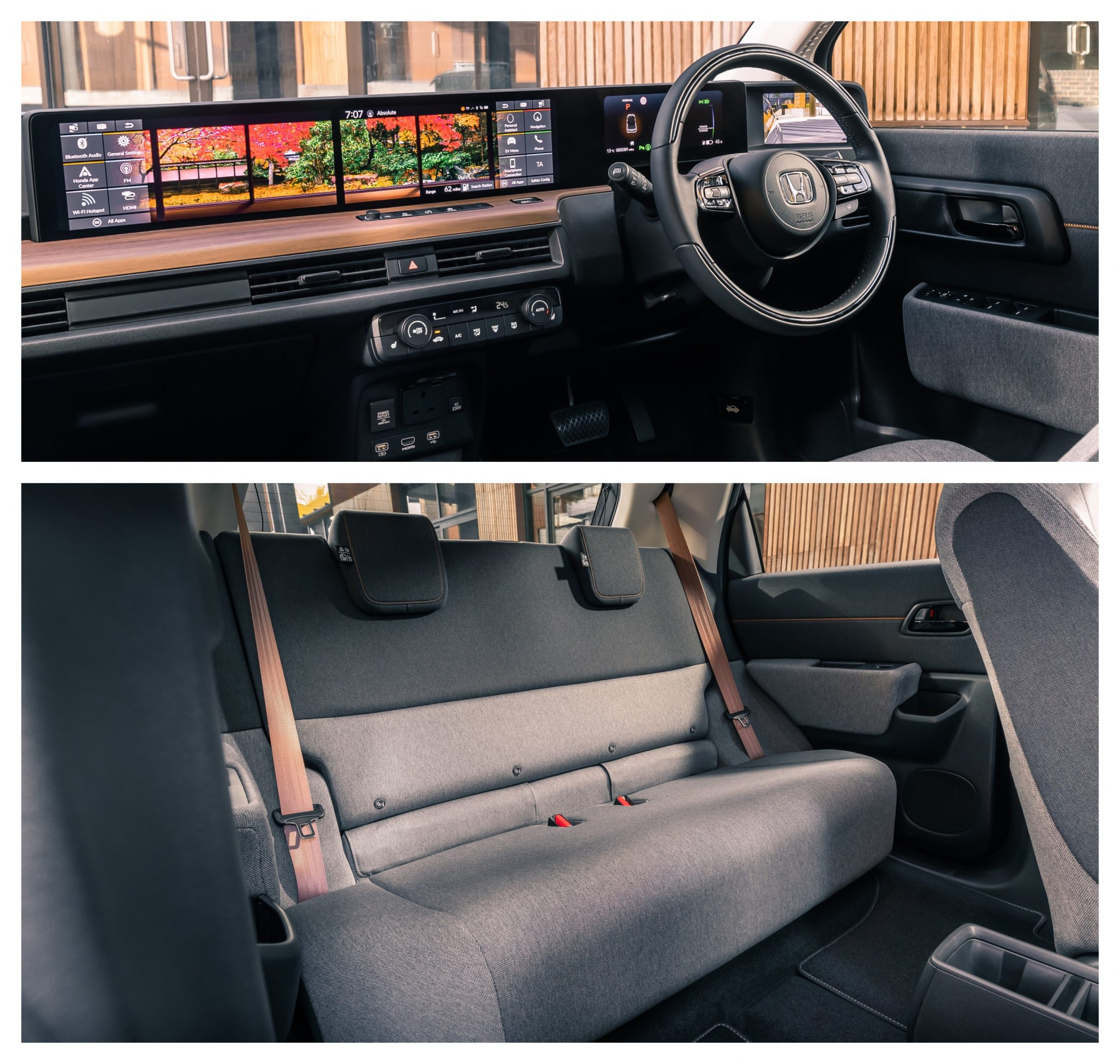 honda e interior dashboard and back seats