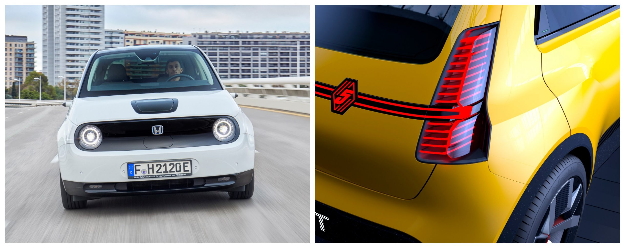 honda e headlights vs renault 5 rear lights