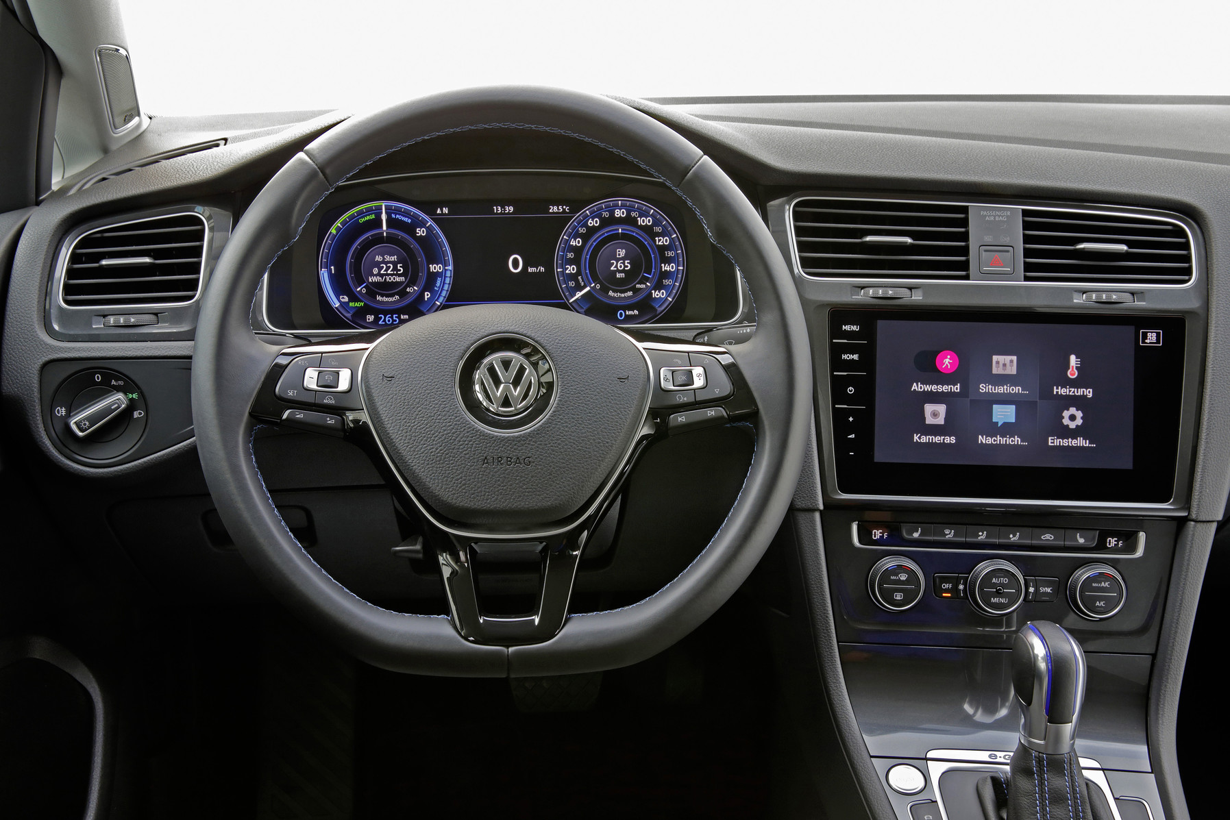 The Volkswagen e-Golf has a refreshingly modern interior that is typical of the brand