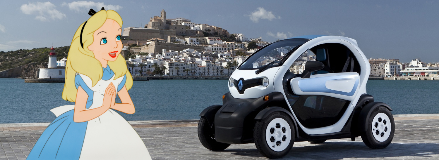 alice in wonderland with her renault twizy