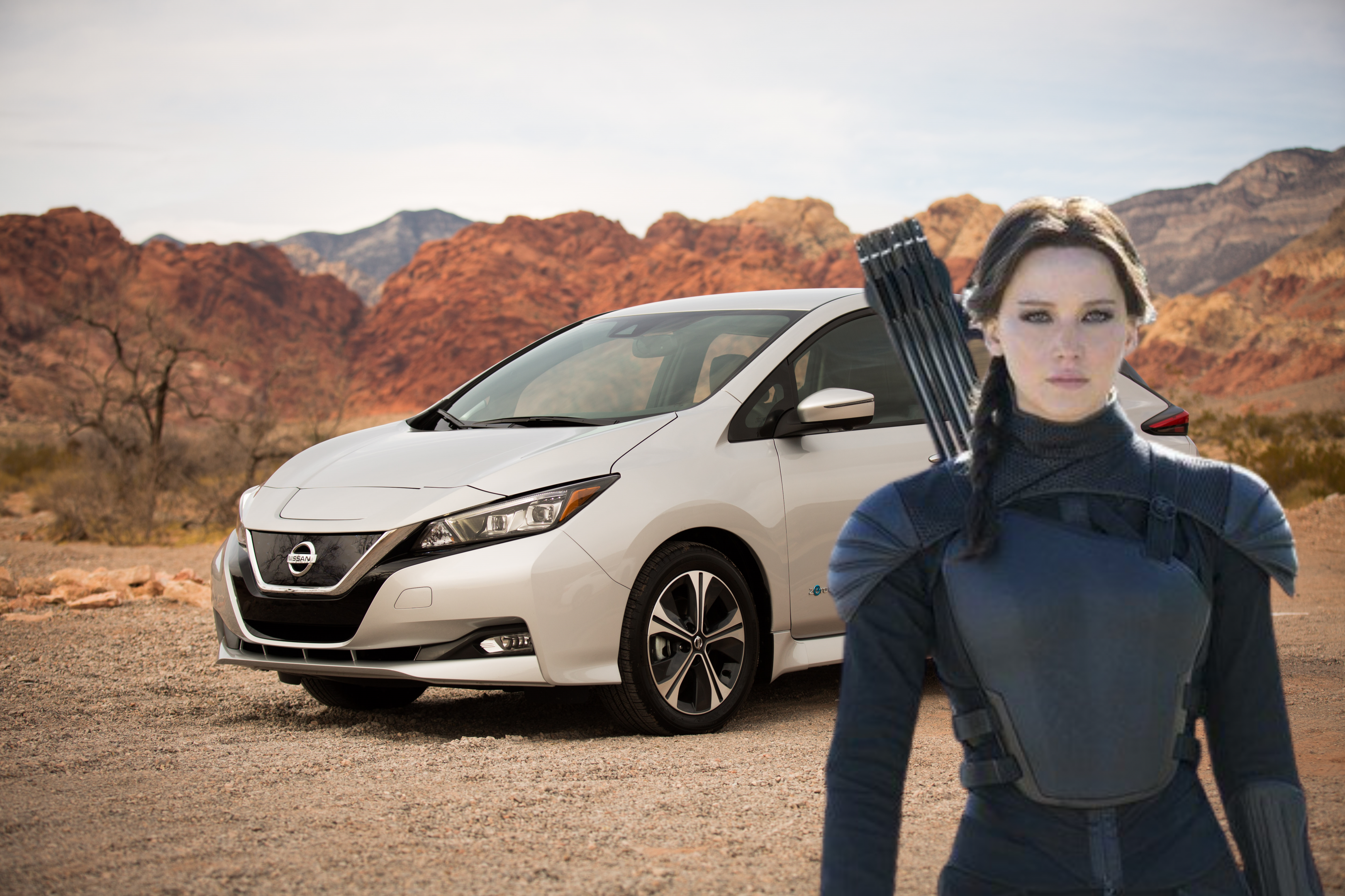 katniss everdeen with a nissan leaf