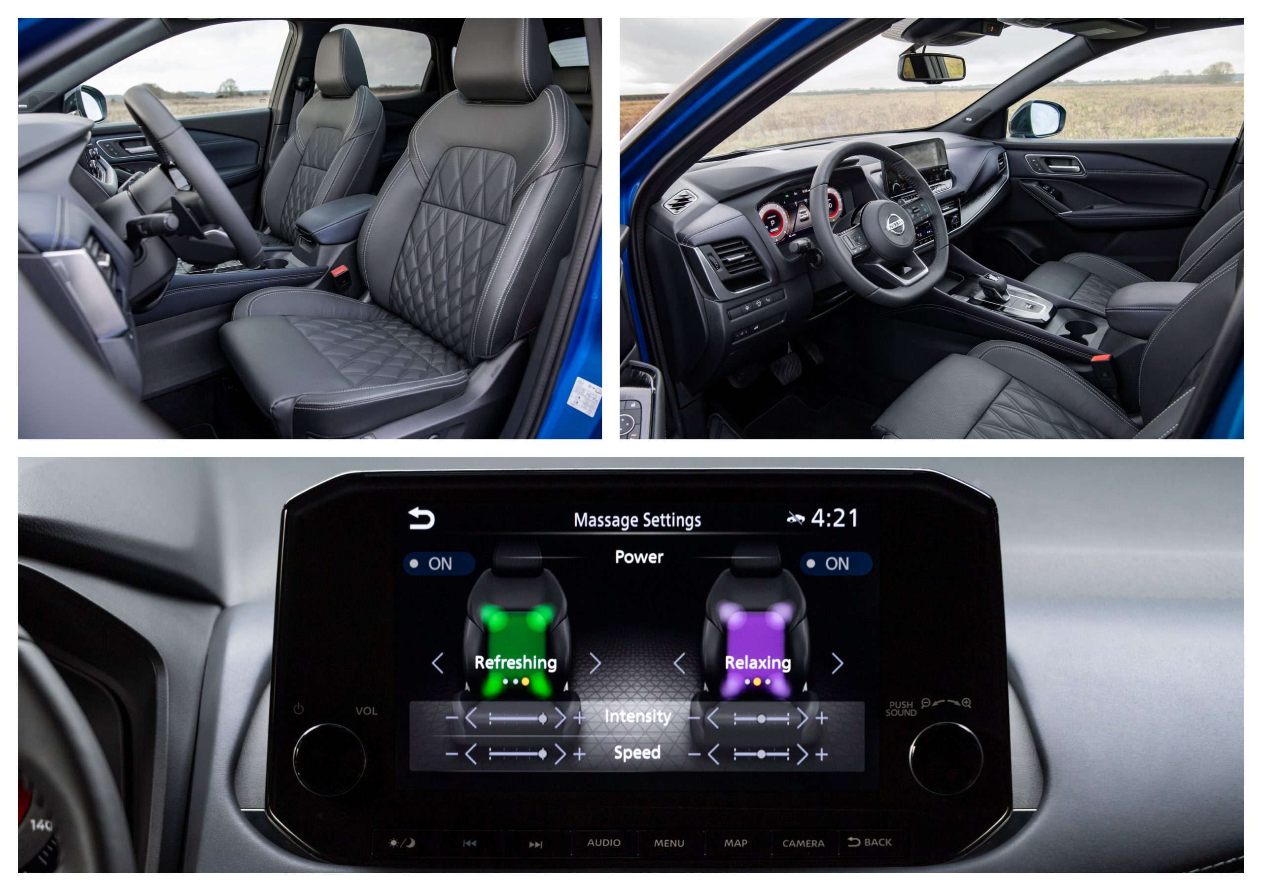 The Nissan Qashqai's interior design includes a massage function.