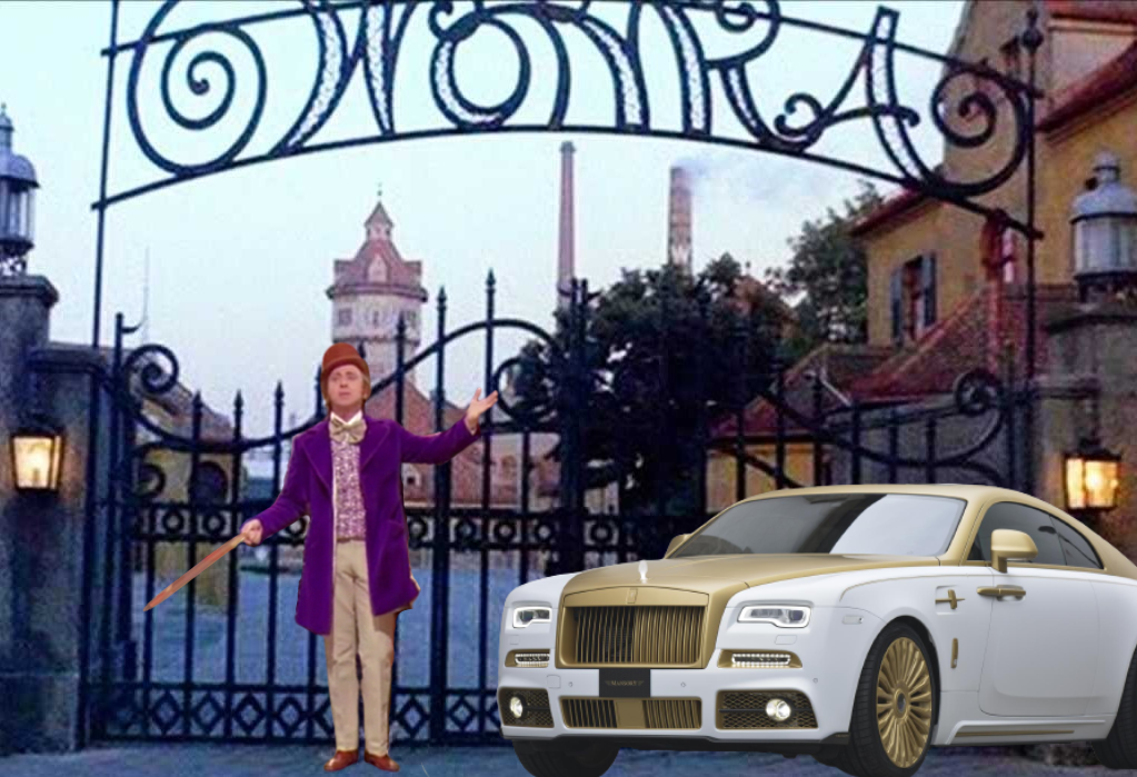 willy wonka and his rolls royce