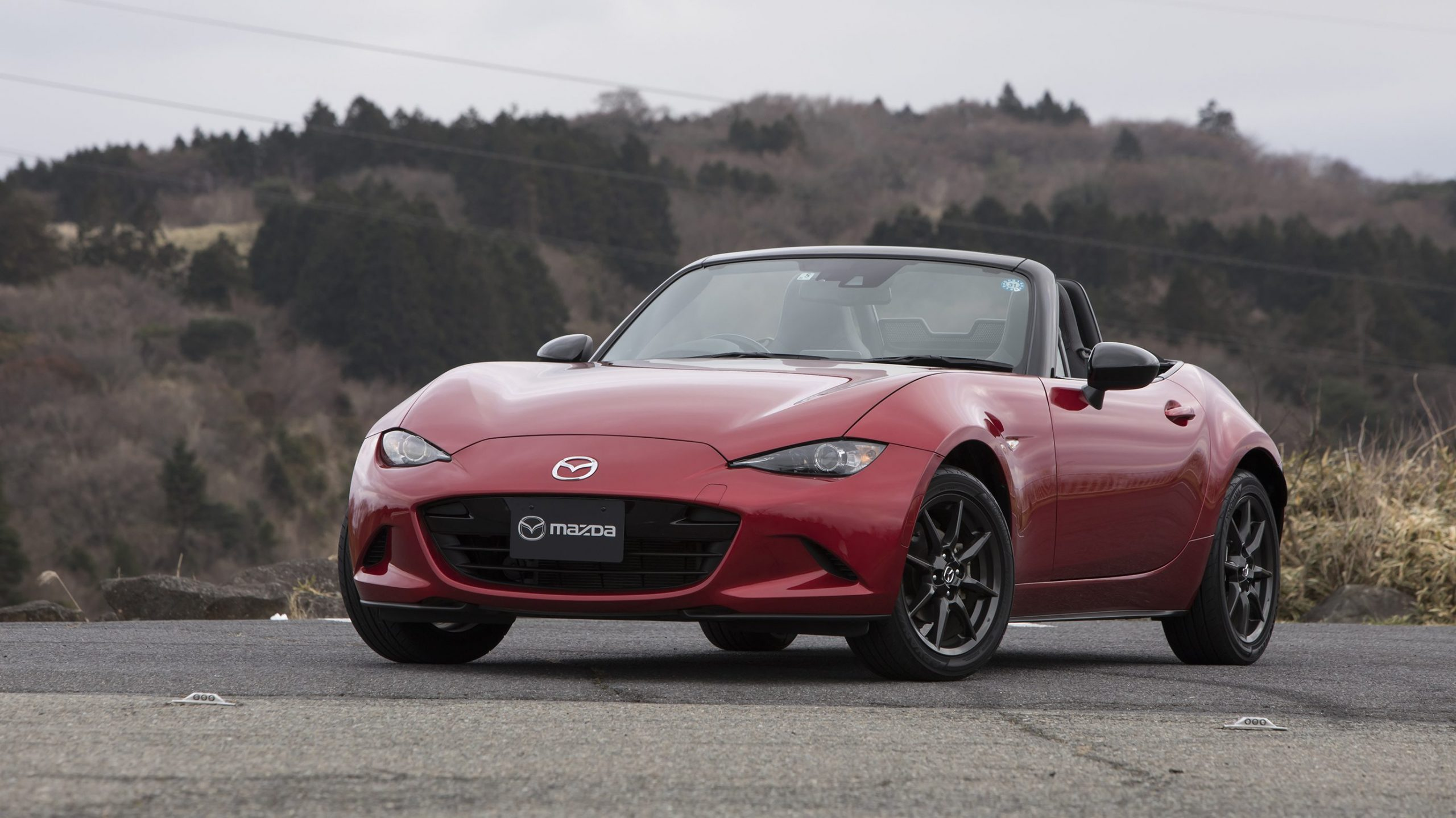mazda mx-5 convertible in red