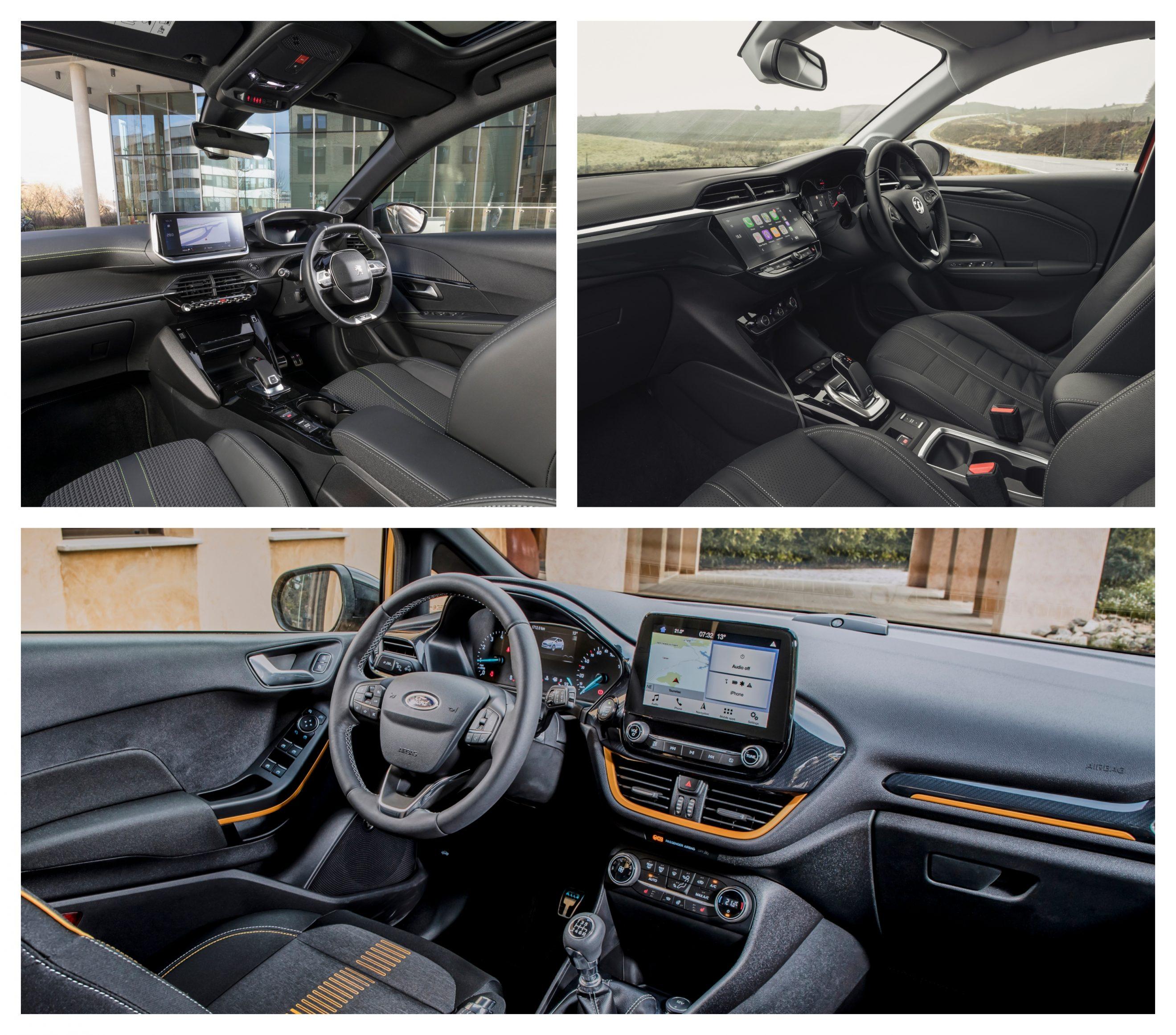 Corsa vs Fiesta vs Peugeot 208 interior design and space