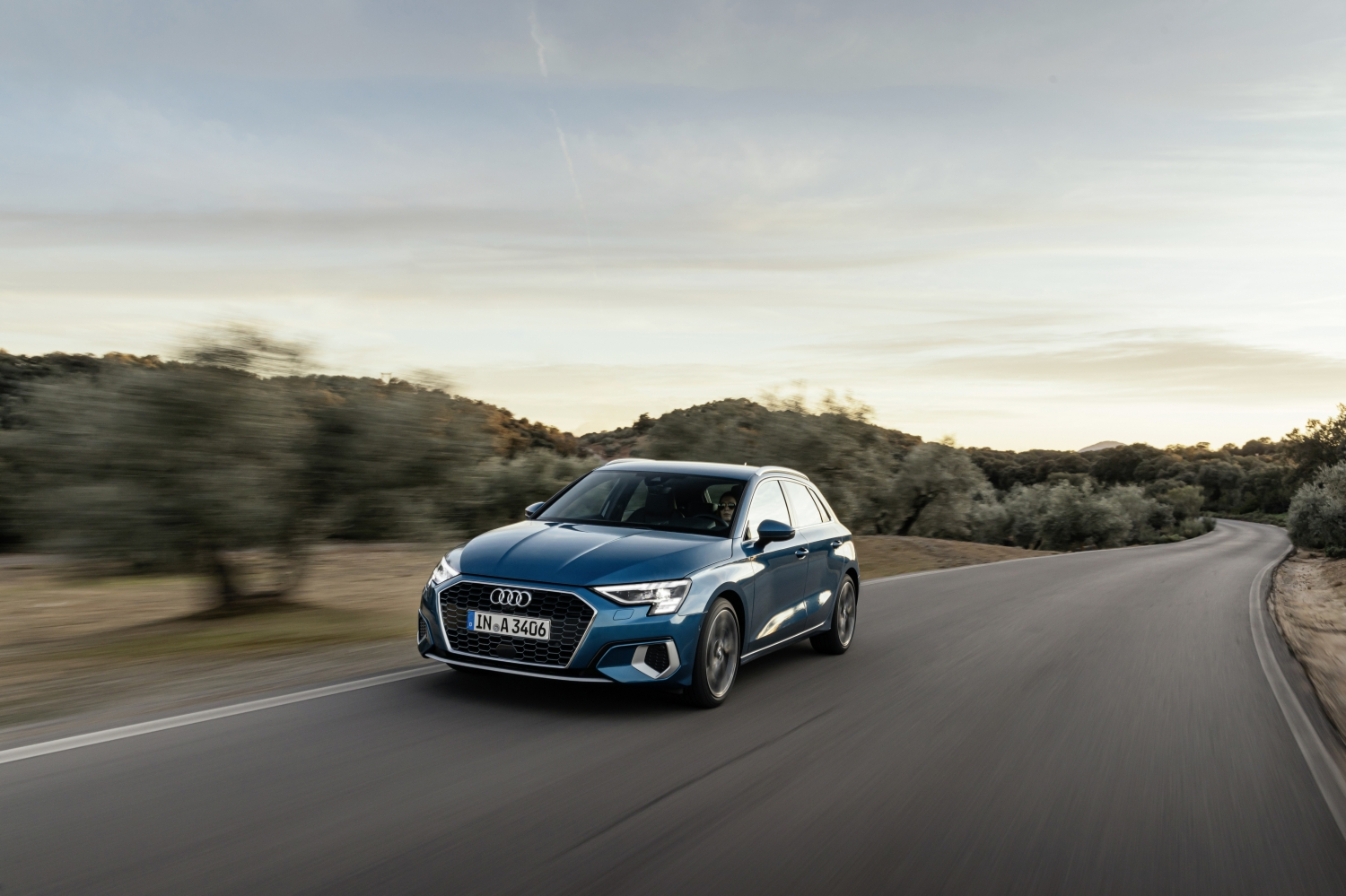 Audi A3 Sportback driving on a country road
