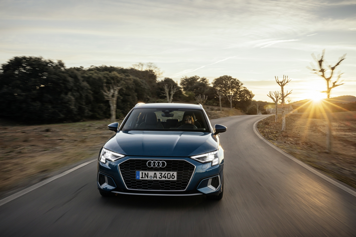 Audi A3 Sportback driving on a country road 2