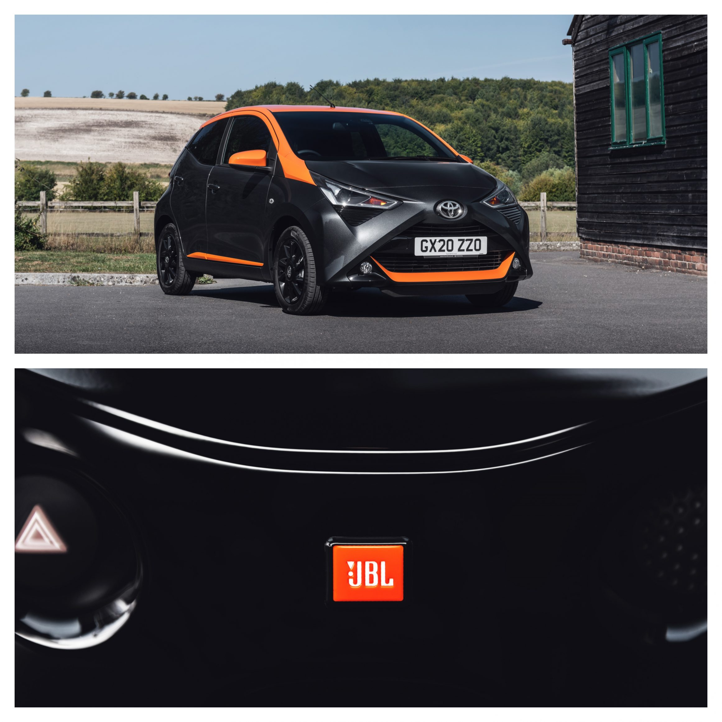 Toyota Aygo JBL Edition in orange and black