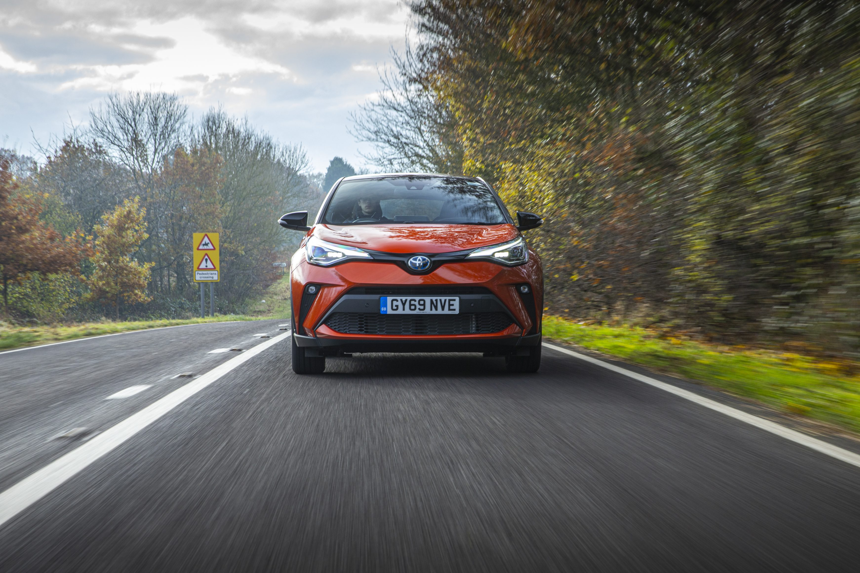 Toyota-C-HR driving on a country road