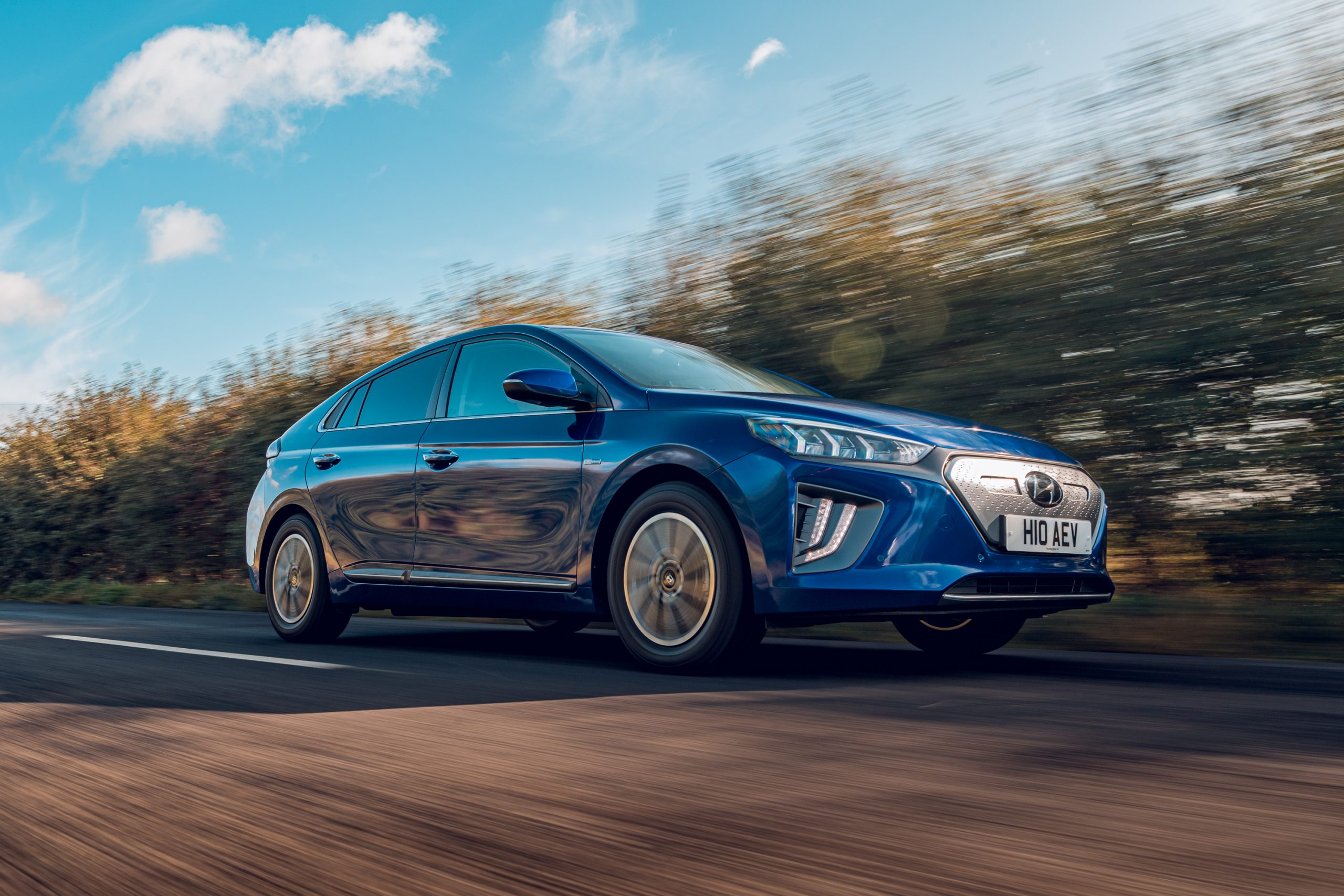 2021 Hyundai Ioniq Electric driving on a country road