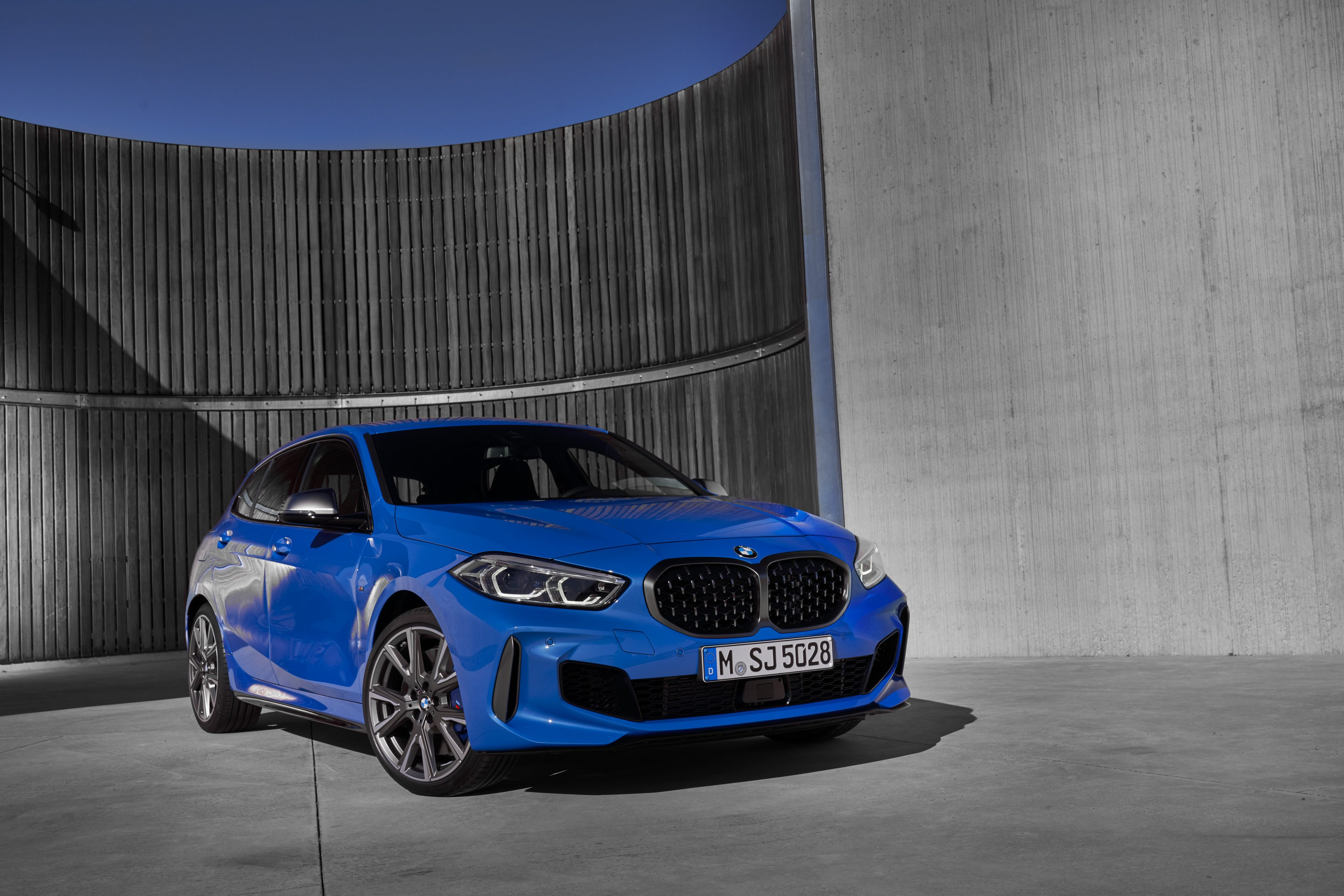 The all new BMW 1 Series front angle shot