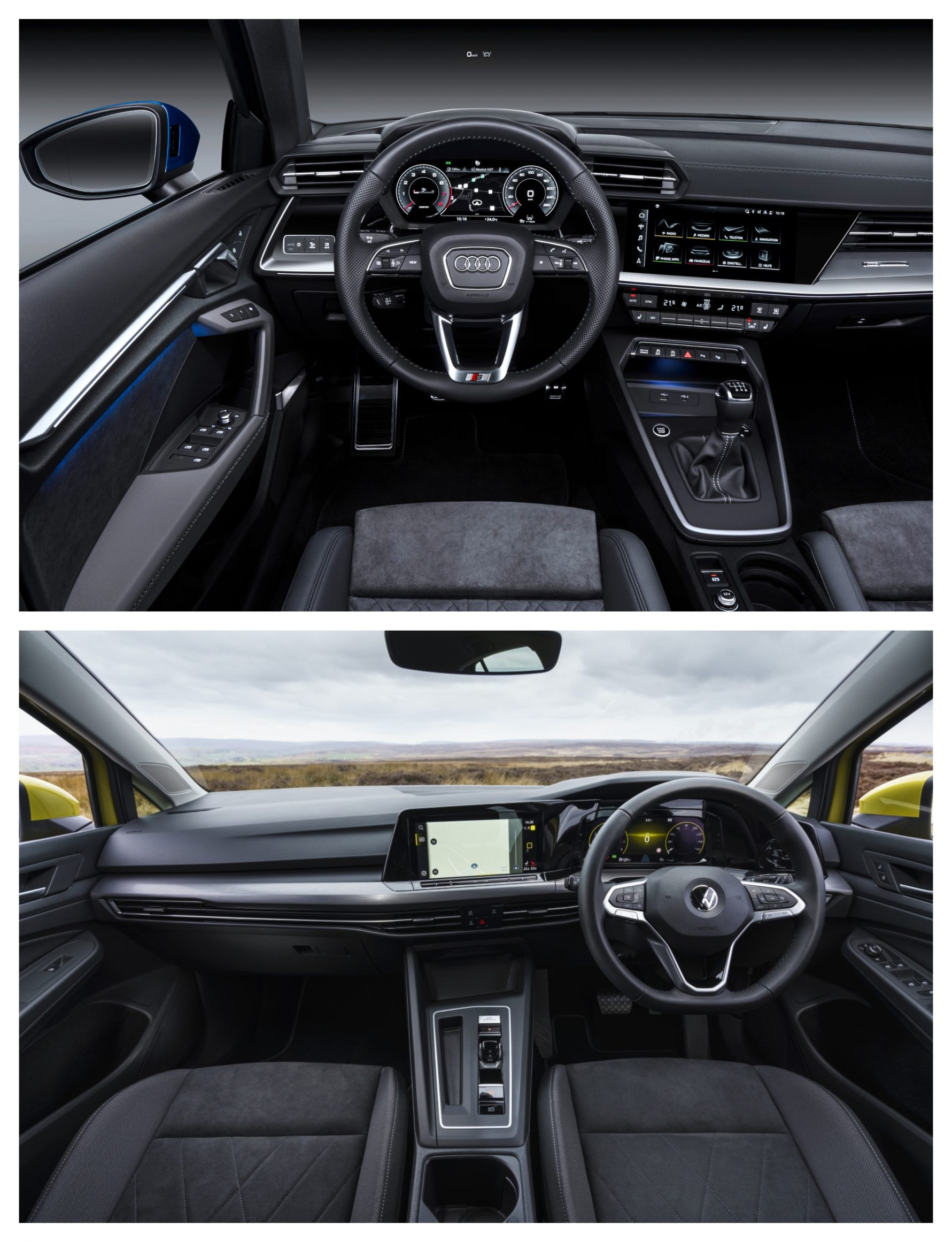 Audi A3 Vs Volkswagen Golf - interior design