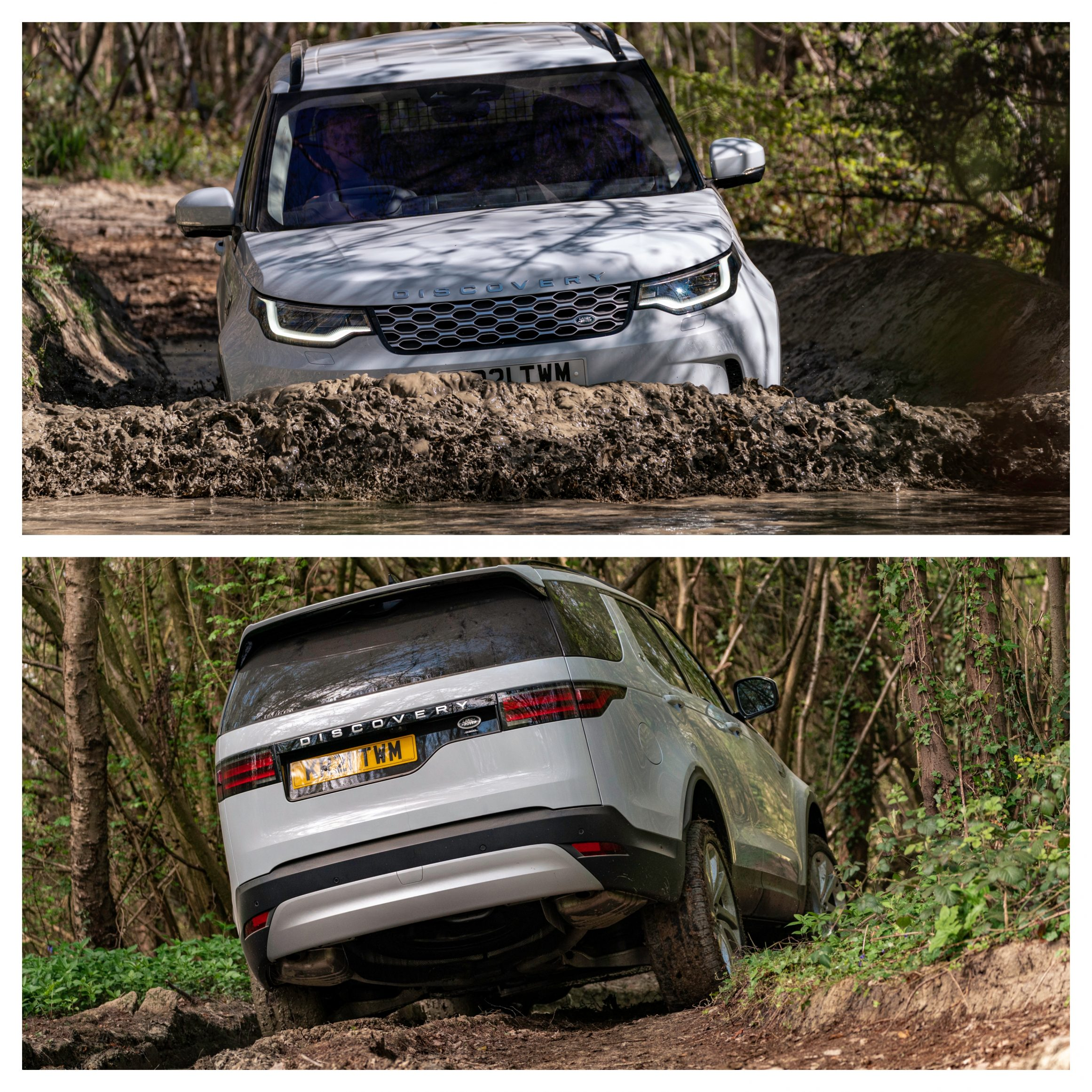 Land Rover Discovery wading through mud