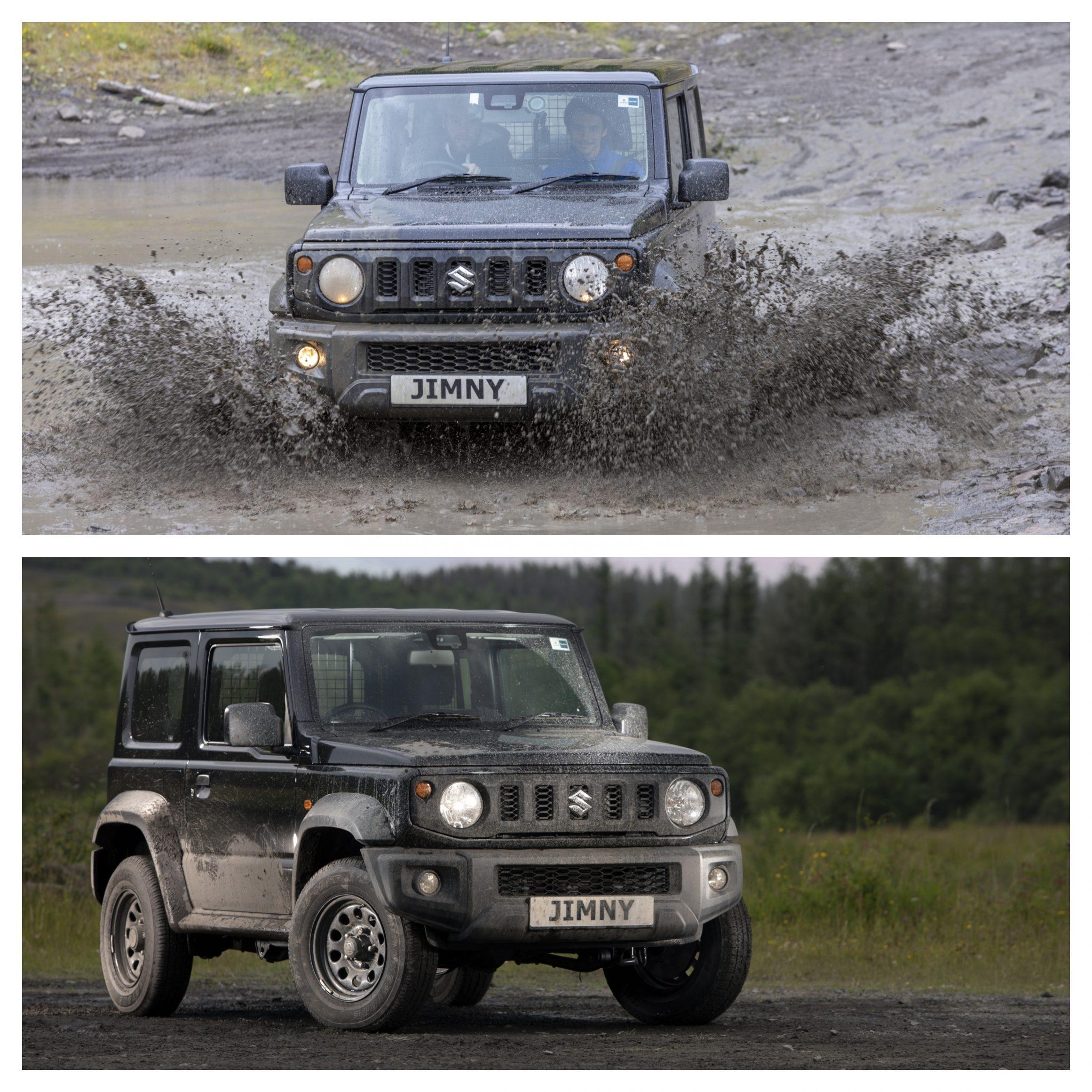 Suzuki Jimny static and driving through mud