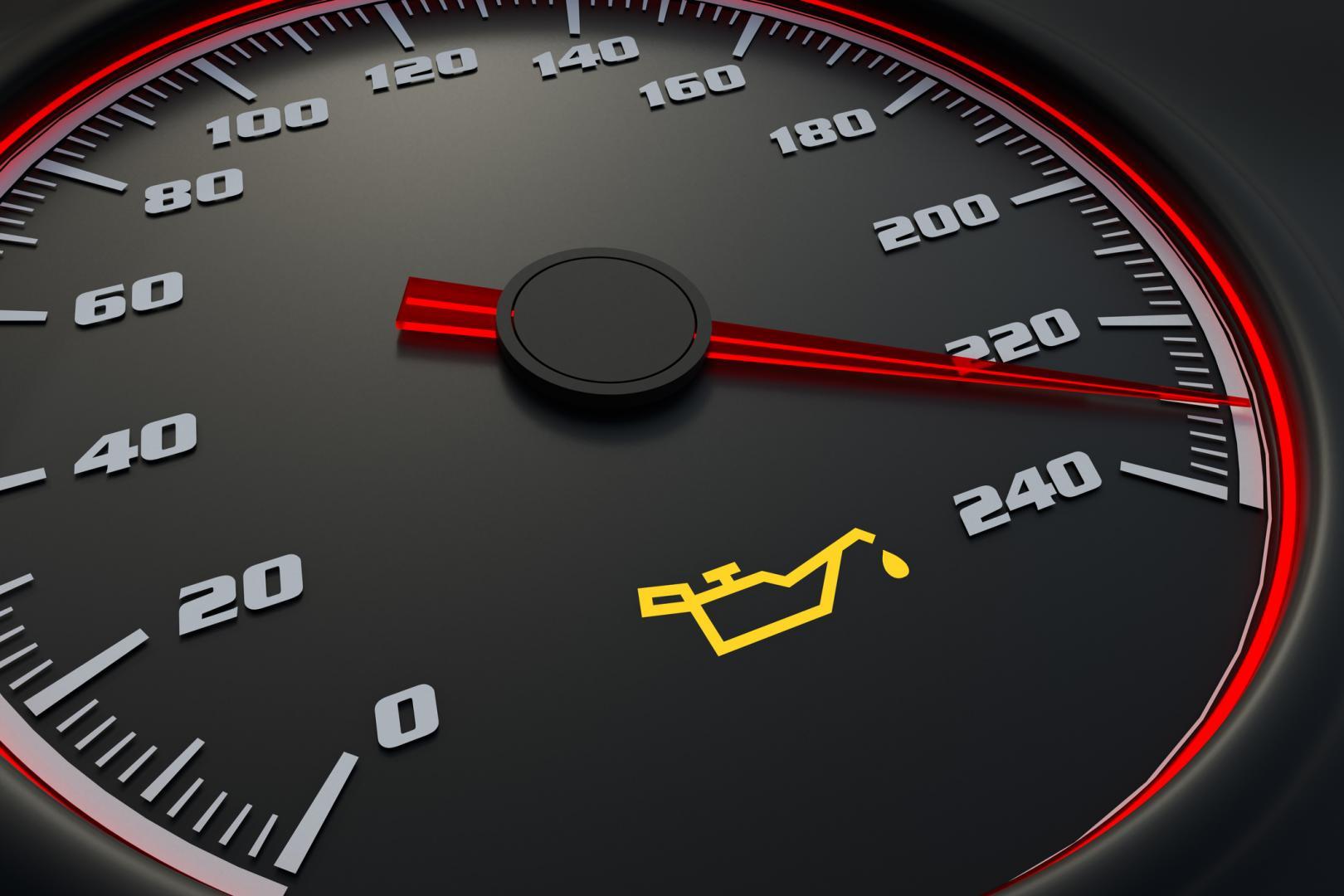 Oil light on car dashboard