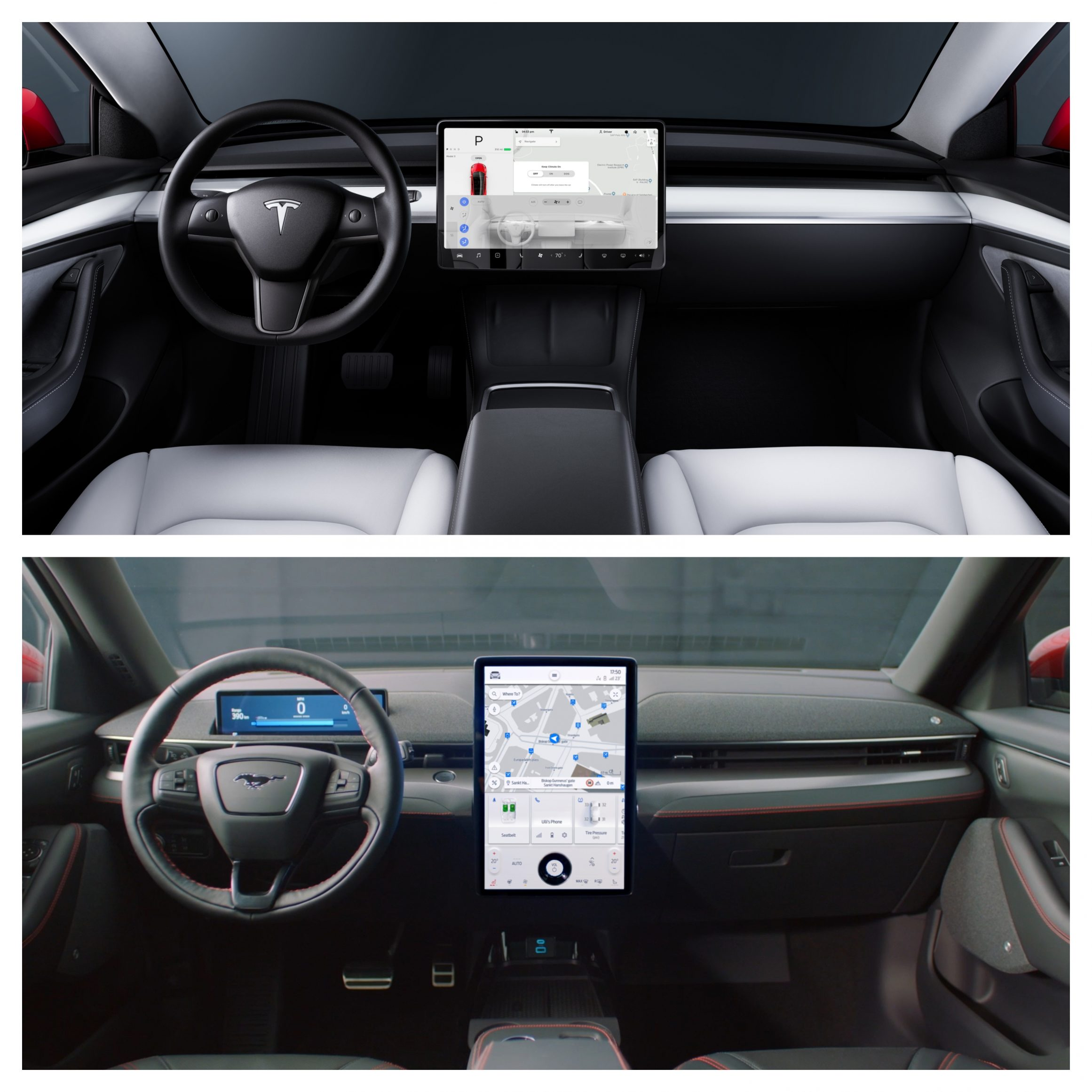 Tesla Model 3 Vs Ford Mustang Mach-E - interior design
